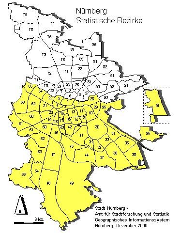 Karte des Amtsbezirks des Finanzamts Nürnberg-Süd